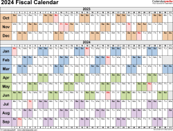 Template 3: Fiscal year calendar 2024 for PDF, landscape orientation, days horizontally (linear), 1 page