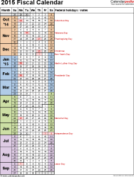 Template 8: Fiscal year calendar 2015 in Microsoft Excel format, portrait orientation, 1 page, days in continuous (rolling) layout