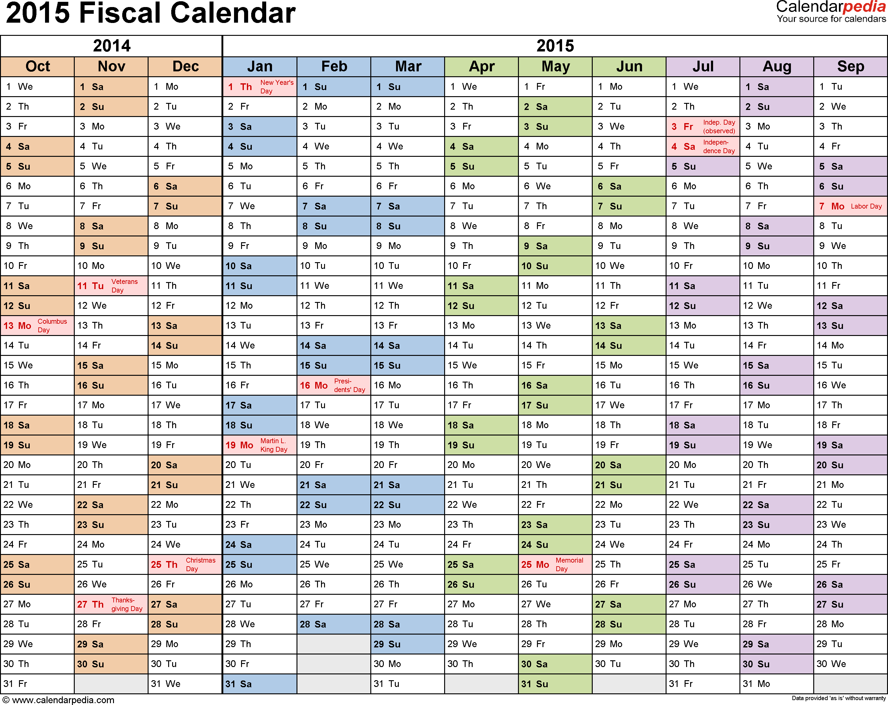 Template 1: Fiscal year calendar 2015 for PDF, landscape orientation, months horizontally, 1 page