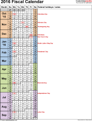 Template 8: Fiscal year calendar 2016 in Microsoft Excel format, portrait orientation, 1 page, days in continuous (rolling) layout