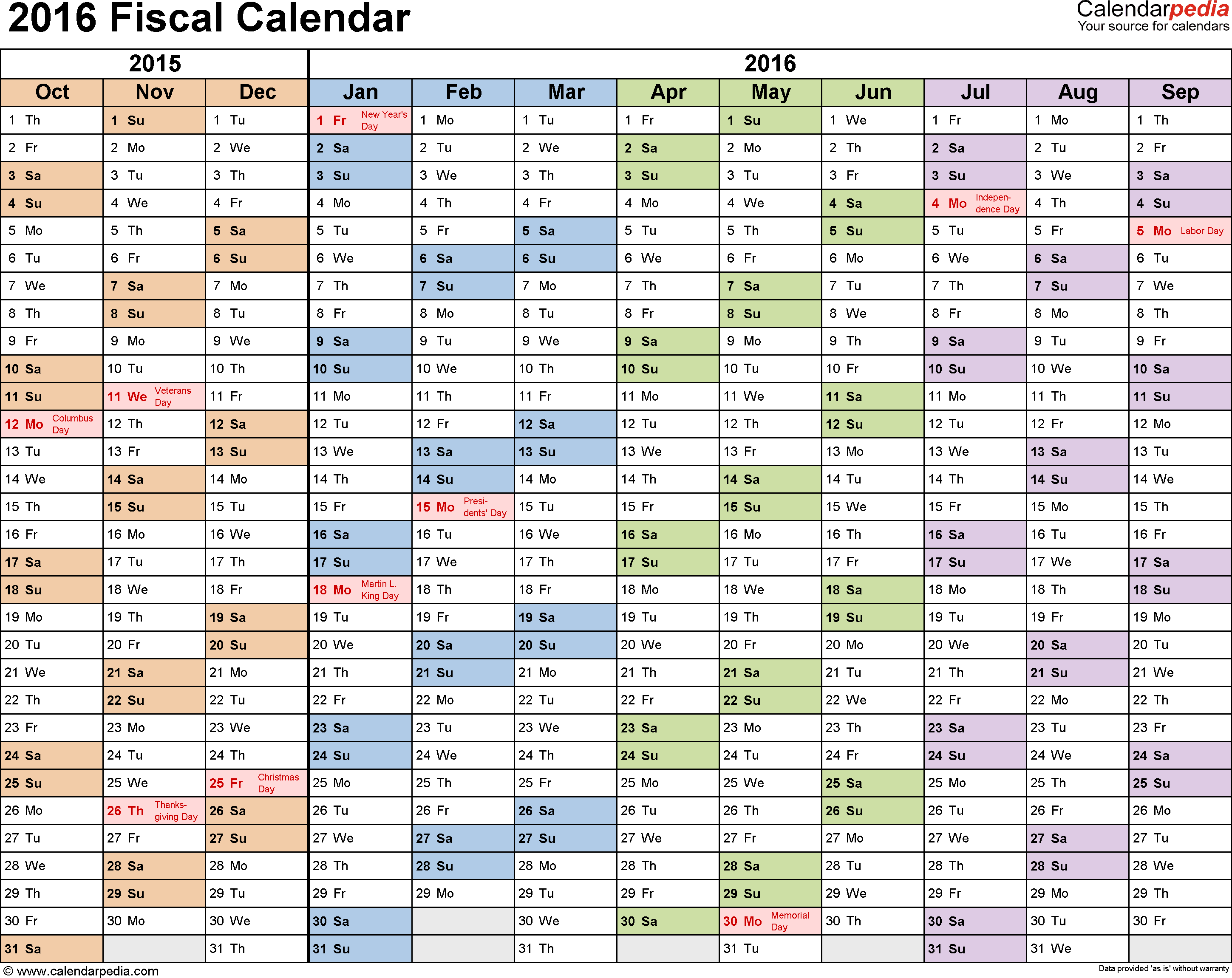 Template 1: Fiscal year calendar 2016 for PDF, landscape orientation, months horizontally, 1 page