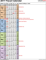 Template 8: Fiscal year calendar 2017 in PDF format, portrait orientation, 1 page, days in continuous (rolling) layout