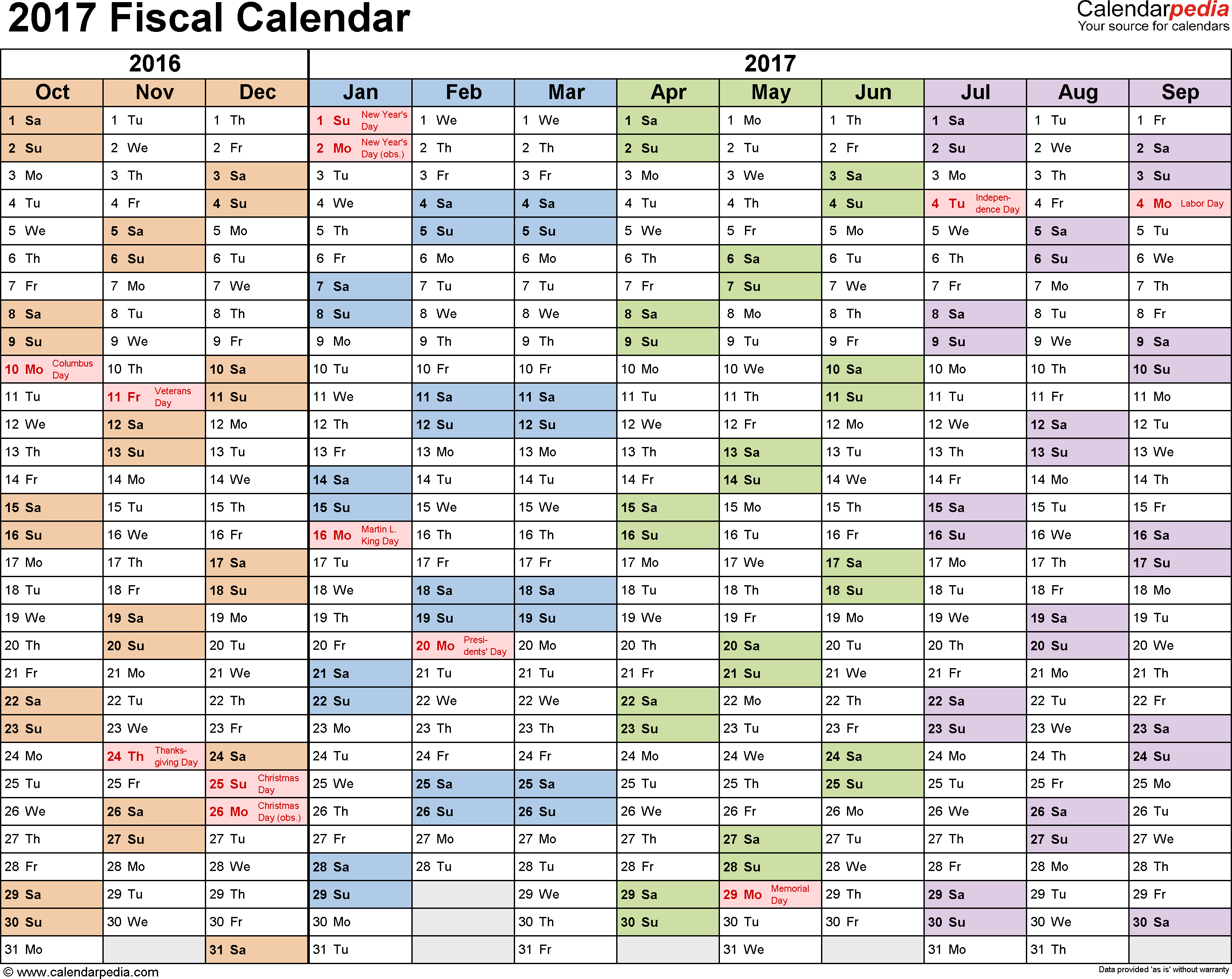 Template 1: Fiscal year calendar 2017 for PDF, landscape orientation, months horizontally, 1 page