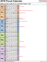 Template 8: Fiscal year calendar 2018 in PDF format, portrait orientation, 1 page, days in continuous (rolling) layout