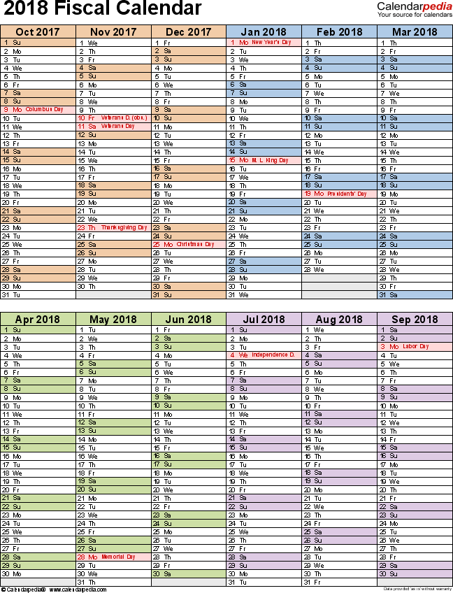 Fiscal Calendars 2018 As Free Printable Excel Templates