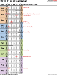 Template 8: Fiscal year calendar 2019 as PDF template, portrait orientation, 1 page, days in continuous (rolling) layout