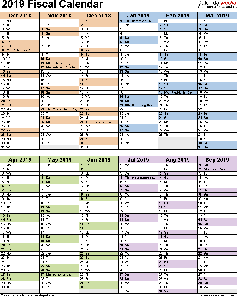 Template 5: Fiscal year calendar 2019 as Excel template, portrait orientation, 1 page, two 6-months blocks
