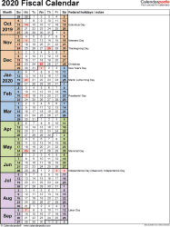 Template 8: Fiscal year calendar 2020 in Microsoft Excel format, portrait orientation, 1 page, days in continuous (rolling) layout