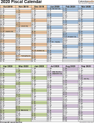 Template 5: Fiscal year calendar 2020 in Microsoft Excel format, portrait orientation, 1 page, two 6-months blocks