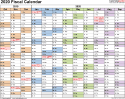 Download Template 1: Fiscal year calendar 2020 for Microsoft Excel (.xlsx file), landscape, 1 page
