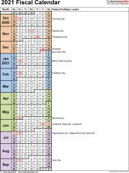 Template 8: Fiscal year calendar 2021 in Microsoft Excel format, portrait orientation, 1 page, days in continuous (rolling) layout