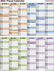 Template 5: Fiscal year calendar 2021 in Microsoft Excel format, portrait orientation, 1 page, two 6-months blocks