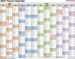 Template 1: Fiscal year calendar 2021 for PDF, landscape orientation, months horizontally, 1 page