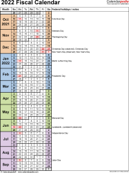 Template 8: Fiscal year calendar 2022 in PDF format, portrait orientation, 1 page, days in continuous (rolling) layout