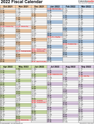 Template 5: Fiscal year calendar 2022 as PDF template, portrait orientation, 1 page, two 6-months blocks