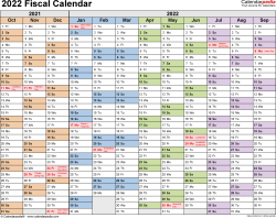 Template 1: Fiscal year calendar 2022 for PDF, landscape orientation, months horizontally, 1 page