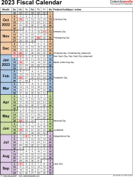 Template 8: Fiscal year calendar 2023 in Microsoft Word format, portrait orientation, 1 page, days in continuous (rolling) layout