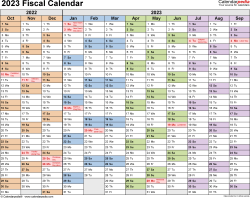 Template 1: Fiscal year calendar 2023 for Microsoft Word (.docx file), landscape, 1 page