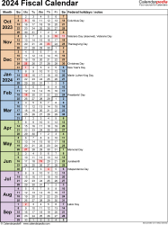 Template 8: Fiscal year calendar 2024 in PDF format, portrait orientation, 1 page, days in continuous (rolling) layout