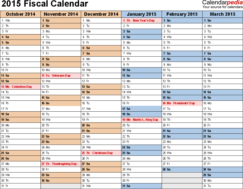 Template 3: Fiscal year calendar 2015 for PDF, landscape orientation, months horizontally, 2 pages