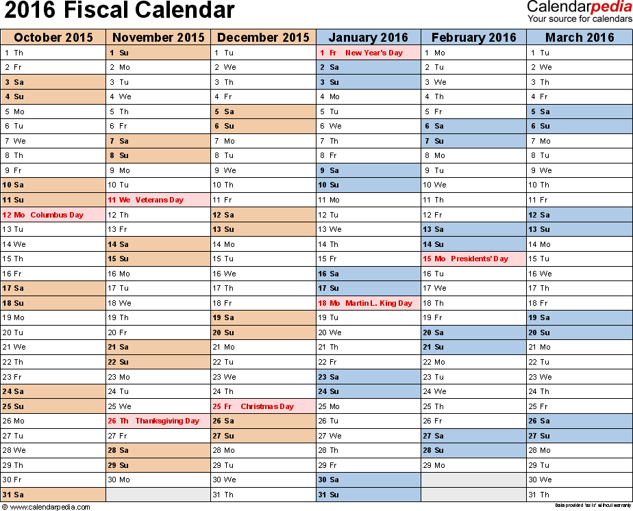 Template 2: Fiscal year calendar 2016 for PDF, landscape orientation, months horizontally, 2 pages