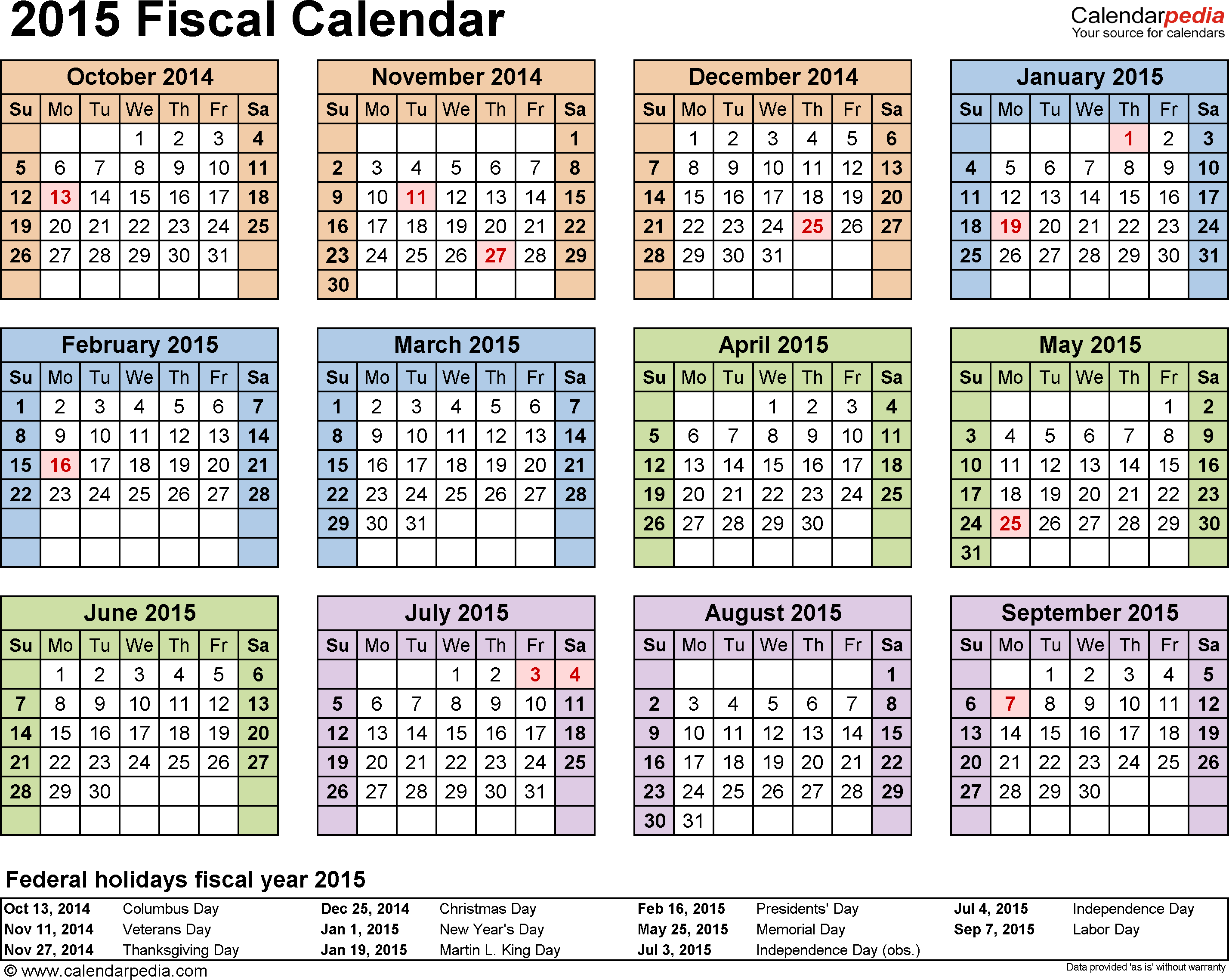 Template 4: Fiscal year calendar 2015, in PDF format, landscape, 1 page, year at a glance