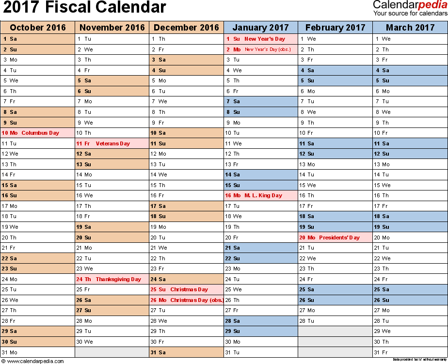 Template 2: Fiscal year calendar 2017 in PDF format, landscape, 2 pages, half a year per page