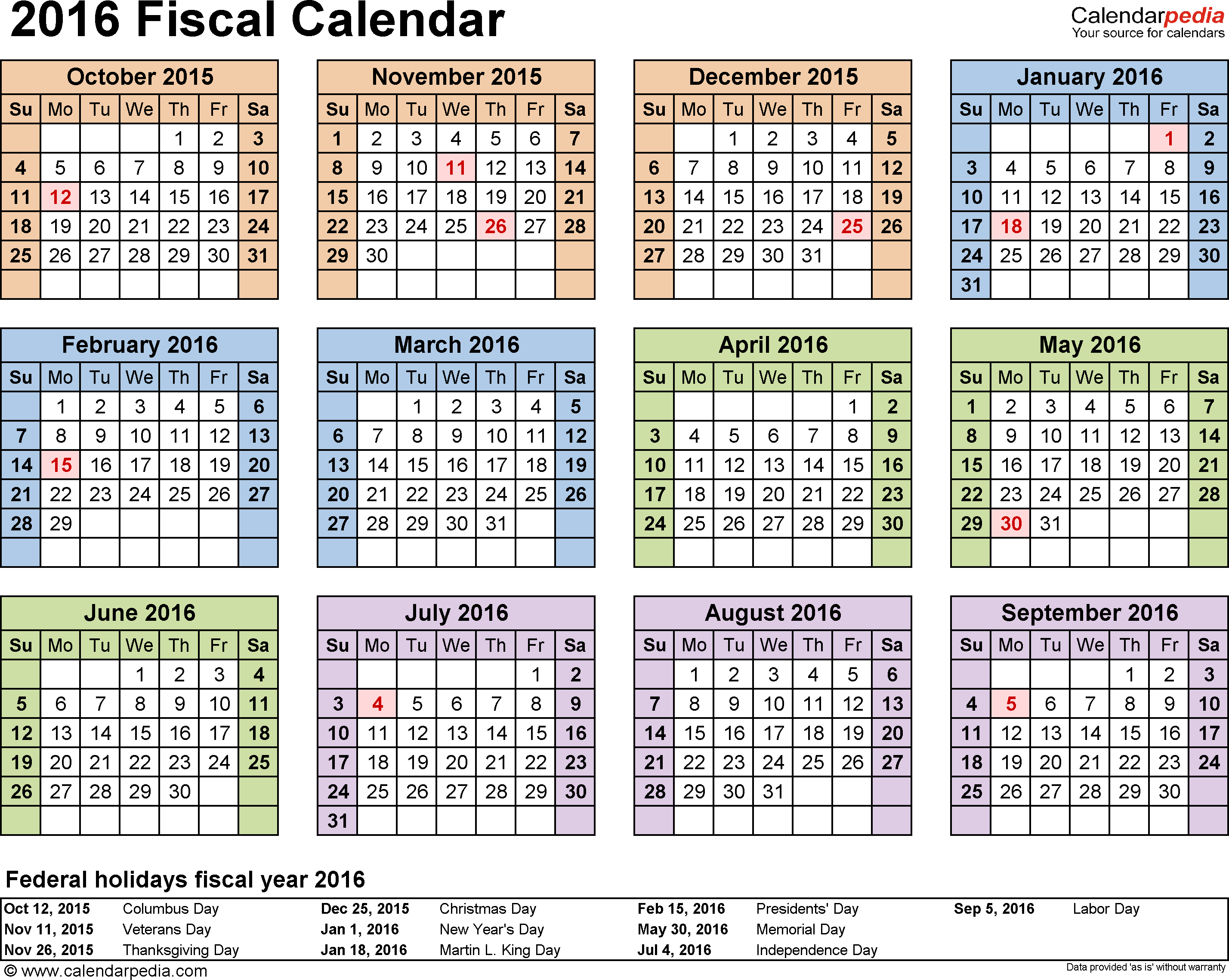 Template 4: Fiscal year calendar 2016 in PDF format, landscape, 1 page, year at a glance