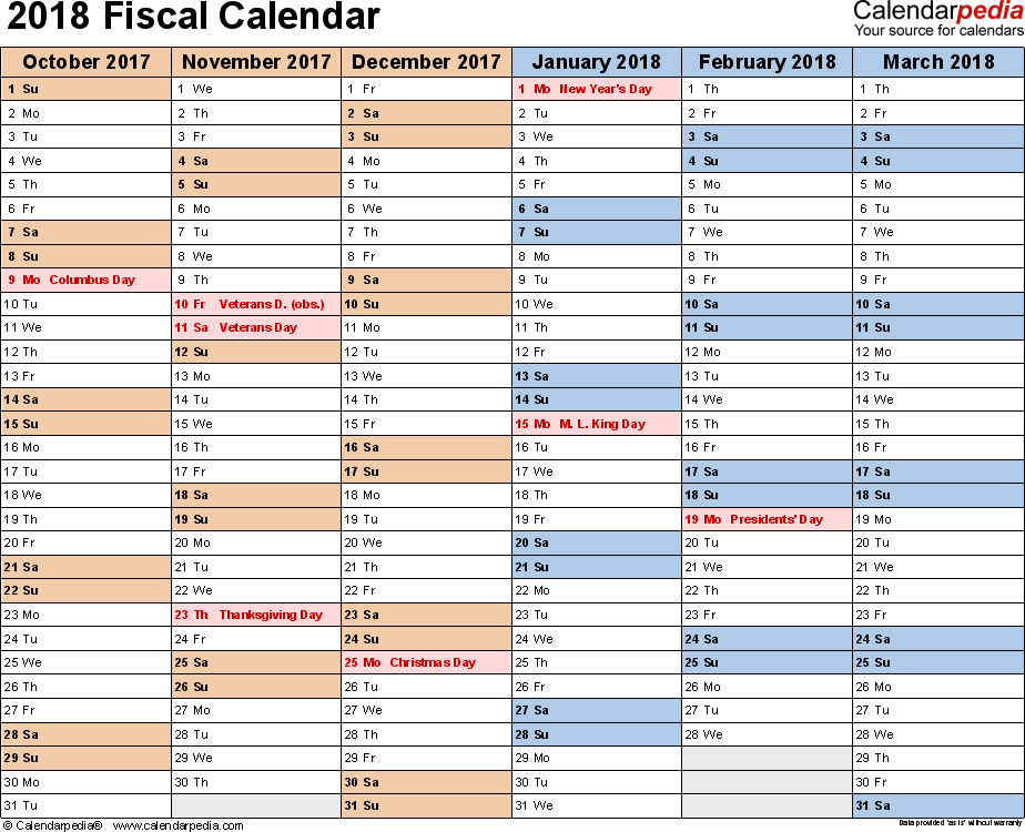 Template 2: Fiscal year calendar 2018 for PDF, landscape orientation, months horizontally, 2 pages
