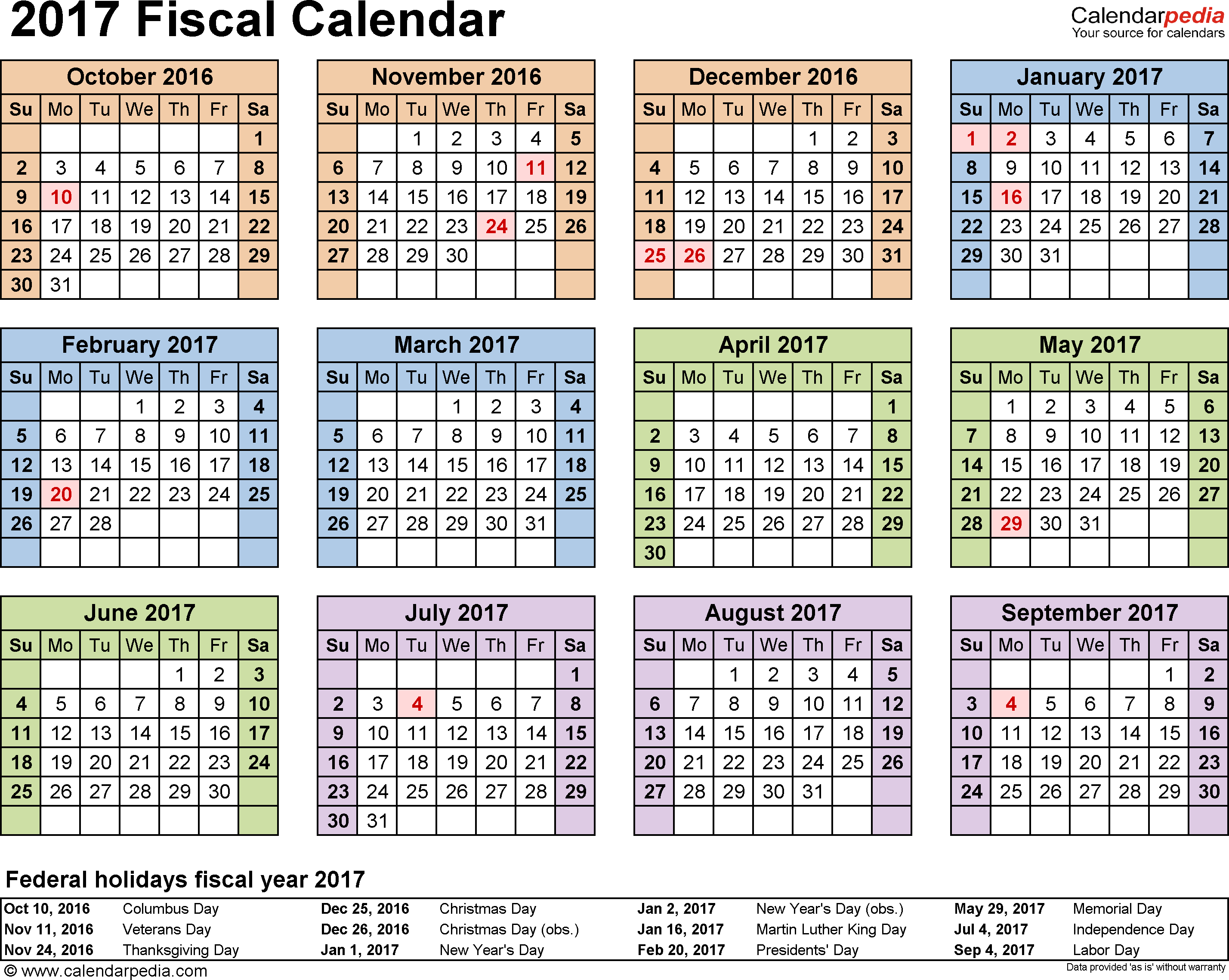 Template 4: Fiscal year calendar 2017 in PDF format, landscape, 1 page, year at a glance