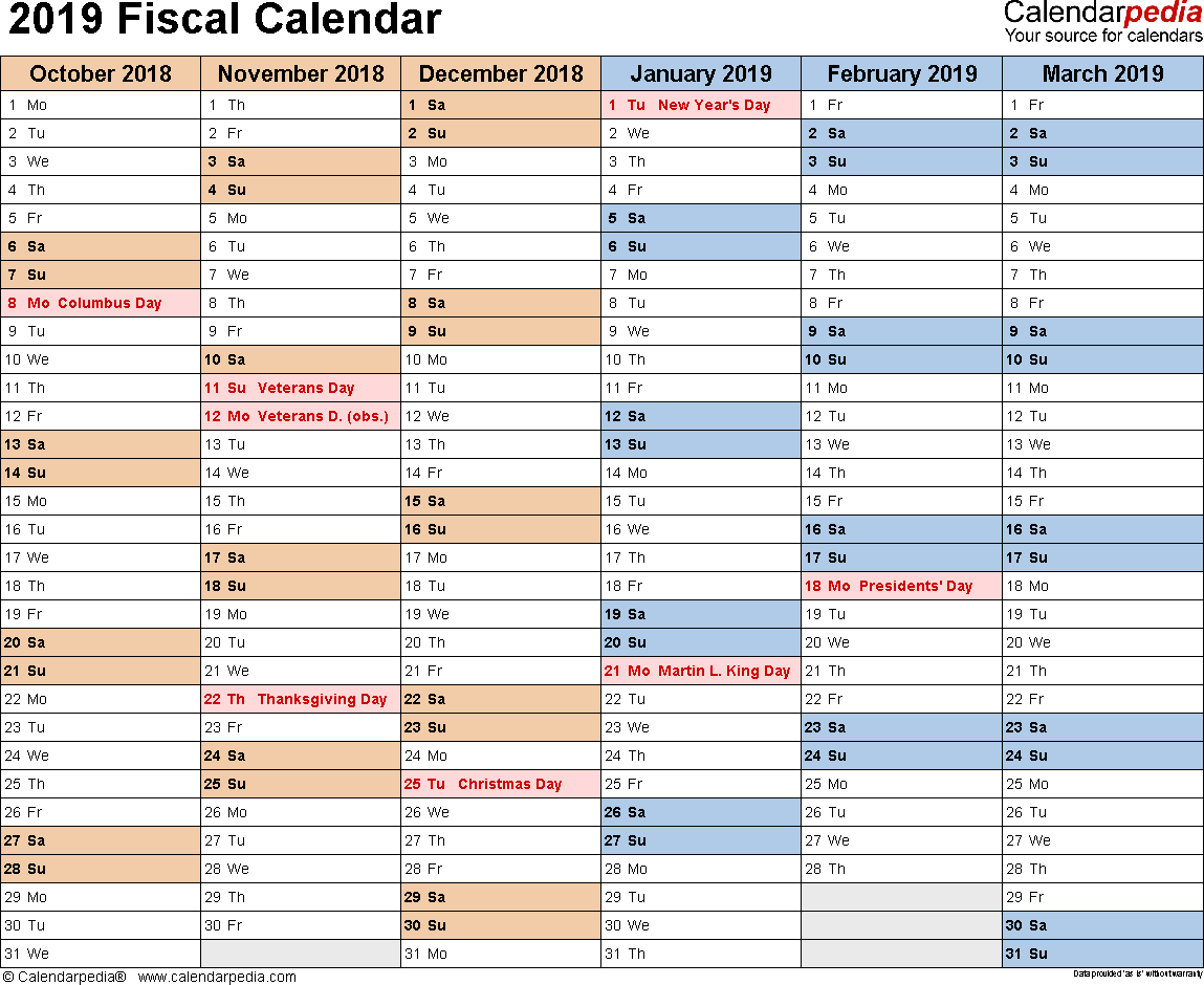 Template 3: Fiscal year calendar 2019 for Word, landscape orientation, months horizontally, 2 pages