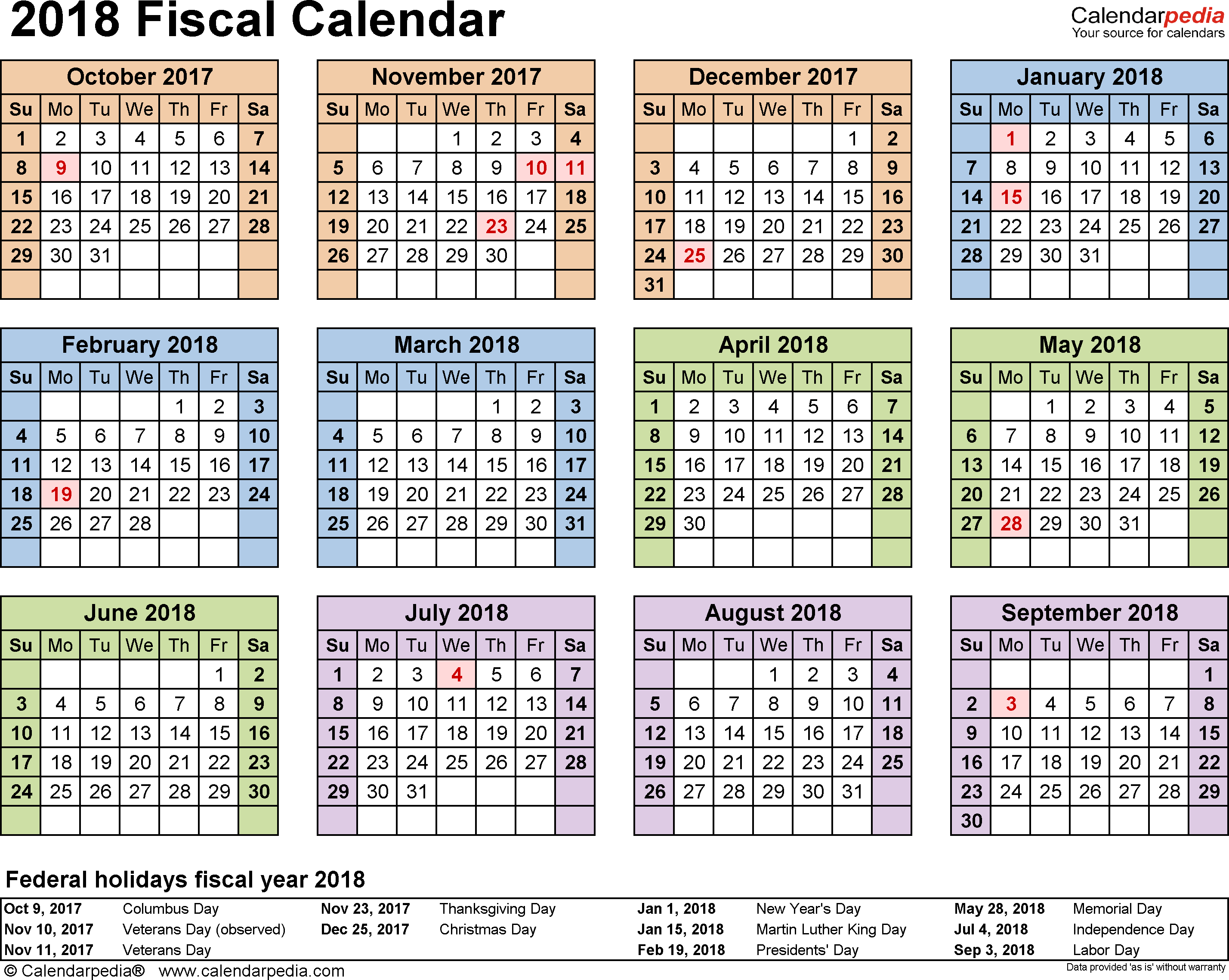 Template 4: Fiscal year calendar 2018 for PDF, landscape orientation, year at a glance, 1 page