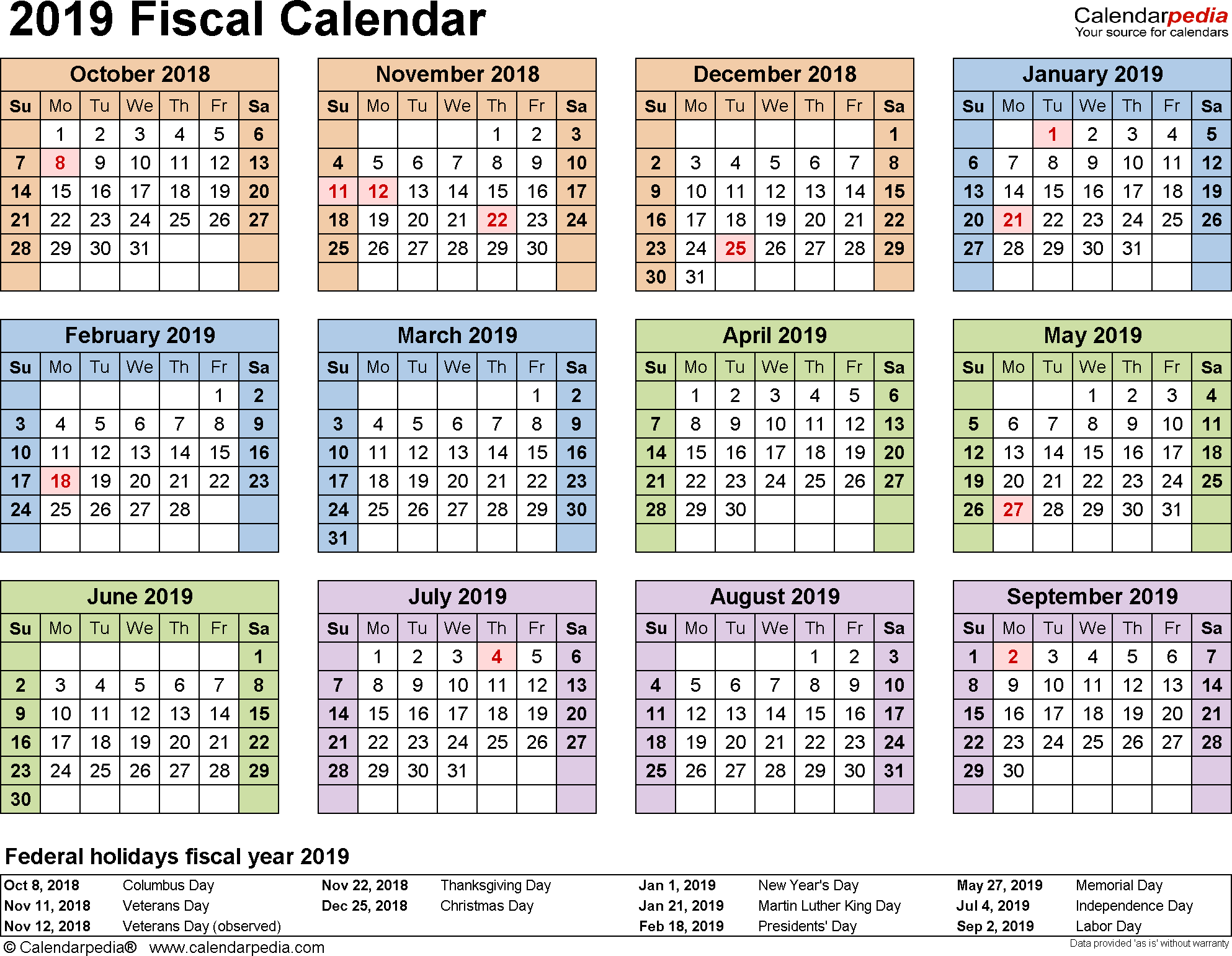 Template 4: Fiscal year calendar 2019 for Excel, landscape orientation, year at a glance, 1 page