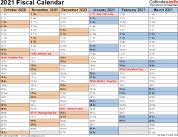 Template 2: Fiscal year calendar 2021 for PDF, landscape orientation, months horizontally, 2 pages