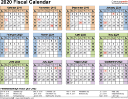 Download Template 4: Fiscal year calendar 2020 for Microsoft Excel (.xlsx file), landscape, 1 page, year at a glance
