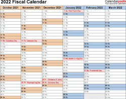 Template 3: Fiscal year calendar 2022 for PDF, landscape orientation, months horizontally, 2 pages