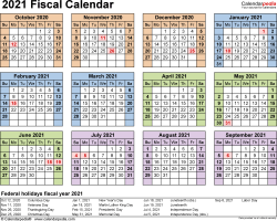 Template 4: Fiscal year calendar 2021 for Excel, landscape orientation, year at a glance, 1 page