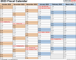 Template 2: Fiscal year calendar 2023 for Microsoft Word (.docx file), landscape, 2 pages, half a year per page