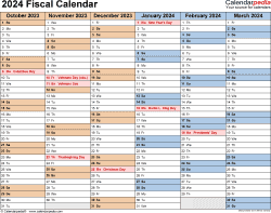 Template 2: Fiscal year calendar 2024 for PDF, landscape orientation, months horizontally, 2 pages
