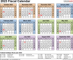 Template 4: Fiscal year calendar 2023 for Microsoft Word (.docx file), landscape, 1 page, year at a glance