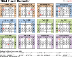 Template 4: Fiscal year calendar 2024 for PDF, landscape orientation, year at a glance, 1 page