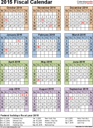 Template 7: Fiscal year calendar 2015 for Excel, portrait orientation, year at a glance, 1 page