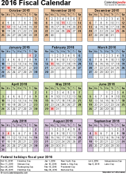 Download Template 7: Fiscal year calendar 2016 for Microsoft Excel (.xlsx file), portrait, 1 page, year at a glance