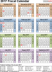 Fiscal year calendar 2017 for Excel, portrait orientation, year ...