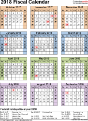 Template 7: Fiscal year calendar 2018 for Word, portrait orientation, year at a glance, 1 page