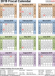 Template 7: Fiscal year calendar 2019 for Word, portrait orientation, year at a glance, 1 page