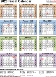 Template 7: Fiscal year calendar 2020 for Excel, portrait orientation, year at a glance, 1 page