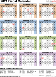Template 7: Fiscal year calendar 2021 for Excel, portrait orientation, year at a glance, 1 page