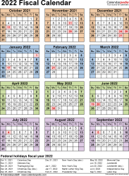 Template 7: Fiscal year calendar 2022, for Microsoft Excel (.xlsx file), portrait, 1 page, year at a glance