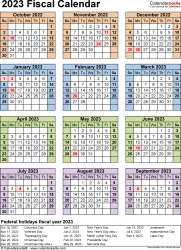 Template 7: Fiscal year calendar 2023 for Microsoft Word (.docx file), portrait, 1 page, year at a glance